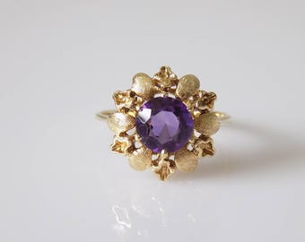 Vintage 14K Gold Amethyst Solitaire Flower Ring, Gift for Her, February Birthstone