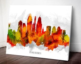 Cincinnati Skyline Canvas Print, Cincinnati Art, Cincinnati print, Cincinnati Cityscape, Home Decor, Gift Idea, USOHCI15C