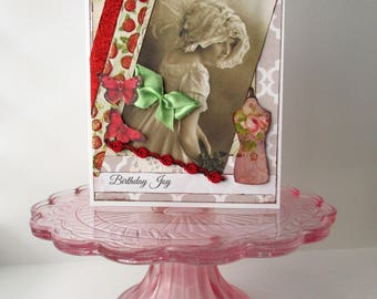Handmade Card Birthday Shabby Vintage-Style Victorian Red Mysweetgreetings Butterfly Greeting