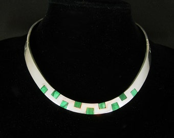 Sterling Malachite collar necklace silver signed Necklace Mexico tn-22 mosaic artisan jewelry  modernist Spiritual collar