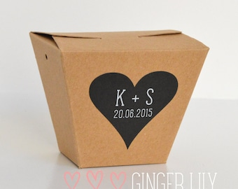 Rustic Heart Favour Stickers - Personalised - White Print