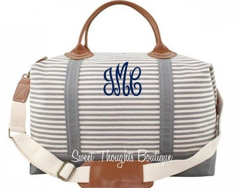 Gray Weekender Monogrammed Bag, Monogrammed Gray Striped Duffel Bag, Monogrammed Overnight Bag, Carry On Bag, Bridal Party Gift