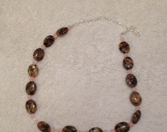 Peach and Black Necklace