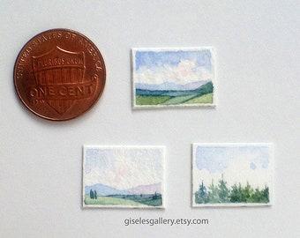 3 Dollhouse miniature paintings - original watercolor 1:24 scale