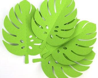 Tropical Leaf shapes. Bright Green safari or jungle leaves, monstera leaf. Baby shower, first birthday party, photo prop, backdrop.