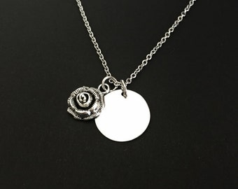 Rose Necklace. Stainless Steel Name Necklace. Personalized Rose Necklace. Gift for Her. Bridesmaid Necklace.  Flower Girl Necklace.