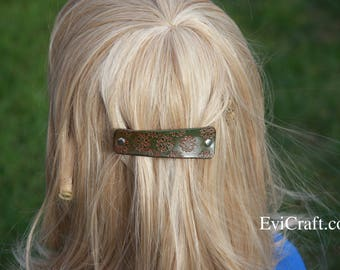 Leather French hair barrette, Hand Tooled Leather Hair Clip, women Hair Accessory, pink flower, green leather accessory, veg tanned leather