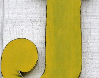 """Baby Nursery Wooden Letter J Distressed Painted golden yellow,12"""" tall Wood Name Letters, Custom Made"""