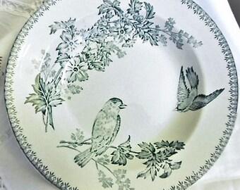 Granit-de-Longwy-Plate-hollow-blue-decor-aux-oiseaux late nineteenth century Granit-de-longwy-assiette-creuse-bleu-decor-aux-oiseaux late XIX
