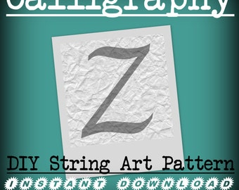 DIY Monogram String Art Pattern - Calligraphy Z