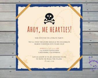 Pirate Treasure Skull CrossBone Map Cute Personalized Downloadable Print Yourself Birthday Invitation