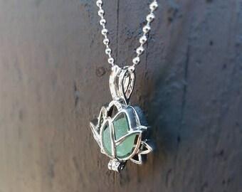 Lotus necklace,lotus locket,sea glass necklace,beach glass.beach glass necklace.sea glass necklace