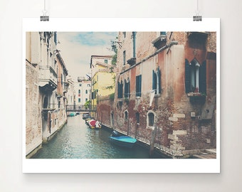 Venice photograph canal photograph blue boat photograph Venice art travel photography boat print bridge photograph wanderlust art