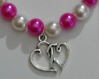 Double Heart Charm on Beaded Bracelet with Lobster Claw Clasp