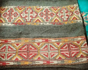 Grey native tribal scarf from indian mountains, ethnic scarf