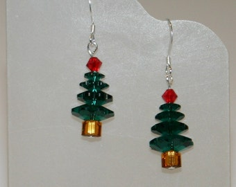 Swarovski crystal christmas tree earrings Green