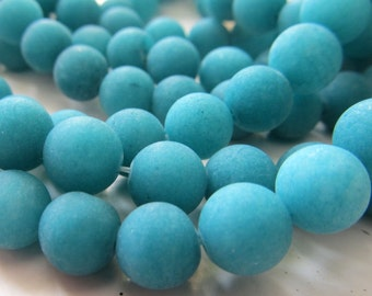 Jade Beads 8mm Teal Blue Sandblasted Matte Candy Smooth Rounds -  8 inch Strand