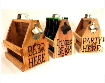 Personalized Wood Beer Caddy With Bottle Opener - Unique Groomsman Gift - Beer Lover - Personalized Gift - Beer Caddy