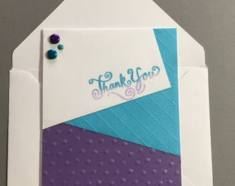 Thank You Card - Purple and Turquoise
