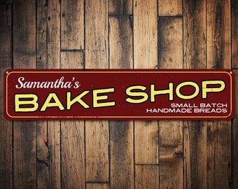 Bake Shop Sign, Personalized Small Batch Handmade Breads Sign, Custom Baker Name Sign, Bakery Kitchen Decor - Quality Aluminum ENS1001598