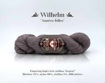 "William - Roaring twenties - nylon stellina ""Silver"" high twist Merino"