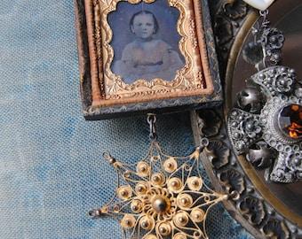 Sweet Little Girl--Antique Victorian Daguerreotype Vintage Filigree Rhinestone Charm Bar Pin BROOCH