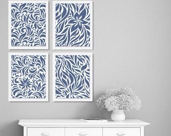 Navy Blue White Art, Modern Art, Home Decor, Set of 4 Prints, Living Room Art, Bedroom Art, Floral, Blue White Dining Room Art, Wall Decor