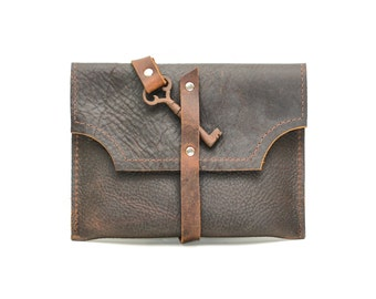Small Leather Purse with Antique Skeleton Key  - Rustic Steampunk - Distressed Leather Purse - IN STOCK