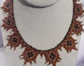 Gold, Pink and Purple Beaded Fringe Lace Collar