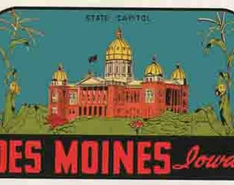 Vintage Style Des Moines IA  Iowa   state capitol  Travel Decal sticker