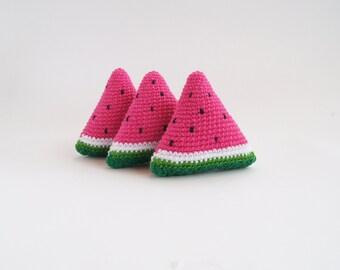 READY TO SHIP Crochet Watermelon, Crochet Fruit, Pretend Food, Play Food, Montessori Toy, Crochet Educational toy, Kitchen decor