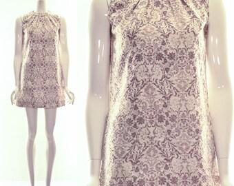 Vintage 60s MOD Cotton Shift Dress Mock Neck Natural Baroque Print Short Dress Summer Dress Small Medium