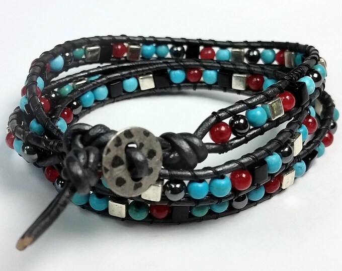 Leather Triple Wrap Bracelet - Bracelet w Turquoise, Red, Black, Silver, and Hematite - Turquoise Bracelet - Comfortable Bracelet