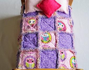 "Pink & Purple OWLS Rag Quilt + 1 Pillow Fits 18"" American Girl, Disney Princess, Madame Alexander, Reborn Dolls."