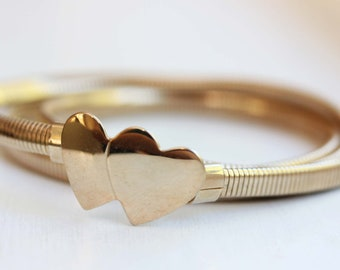 Heart Coil Belt, Heart Snake Belt, Gold Belt, Gold Snake Belt, Gold Stretch Belt, Metal Belt, Stretch Belt, Wedding Belt, Dress Belt, Small