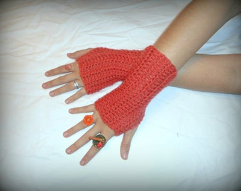 The Coral Breeze Fingerless Texting Gloves Handmade Crocheted Gloves Fall Autumn Driving gloves Hand Warmers Mittens Victorian arm warmers