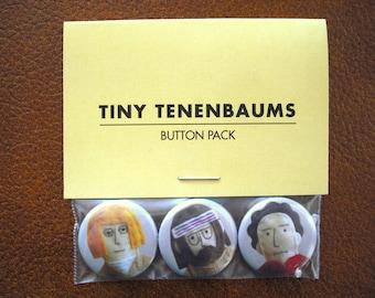 """Tiny Tenenbaums Set of 3 Royal Tenenbaums 1"""" Buttons"""
