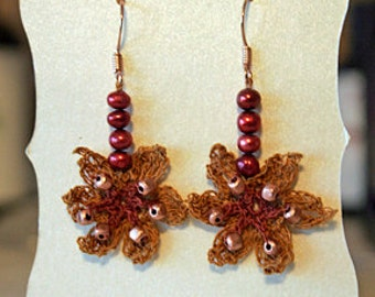 Daffodil Earrings - Gold/Red. Pearls, Rose Gold, Silk, Irish Crochet