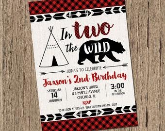 2nd birthday invitation boy, second birthday, lumberjack birthday invitation, into the wild, TWO wild teepee bear buffalo plaid printable