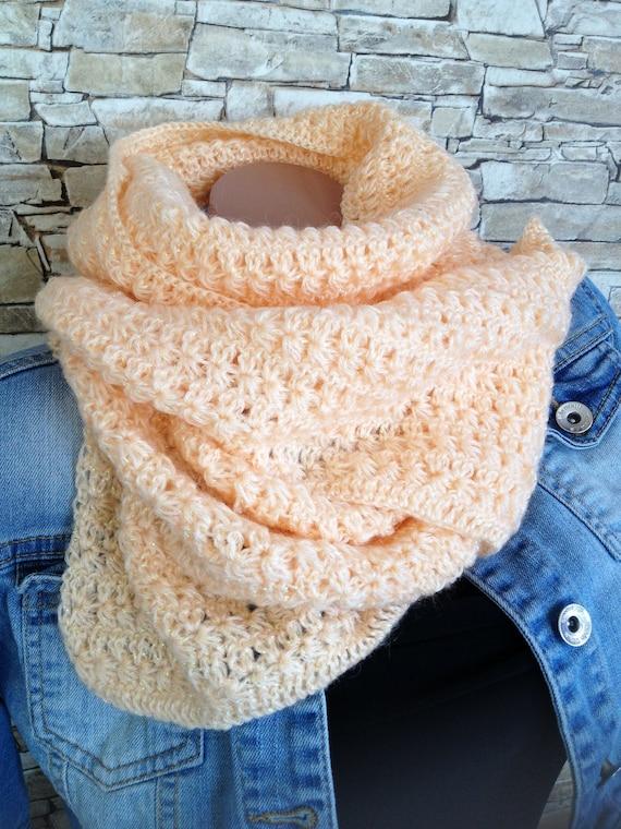 Crochet scarf Peach long scarf Boho Neck warmer Cozy mohair