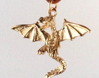 Dragon Necklace on leather cord
