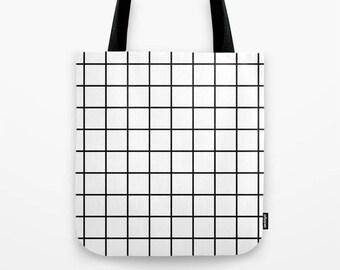 Black and white tote Grid tote Grid bag Geometric tote bag geometric bag geometric white canvas tote summer tote bag stripes tote bag
