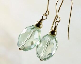 Green Amethyst Earrings, 14K Gold fill, light green gemstone earrings, dangle boho earrings, elegant, classic, holiday gift for her, 2780