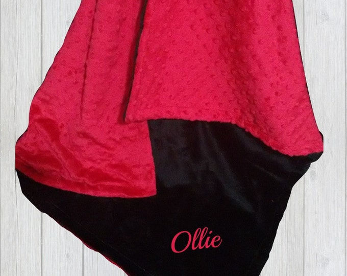 Red and Black Minky Baby Blanket, available in three sizes