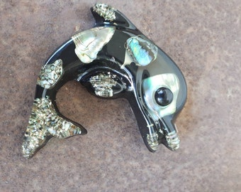 Cute retro Crystal Craft Dolphin wall hanging kitsch. Resin abalone/paua shell 60s/70s plaque