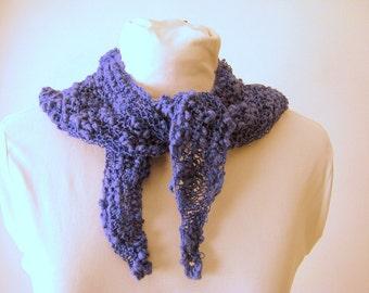 Handknit Cotton Summer Lace Purple Triangle Fashion Scarf
