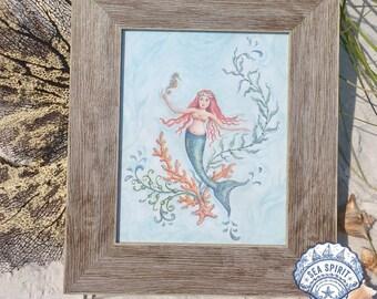 Mermaid art | Mermaid art print | Mermaid decor | Coastal decor | Kate McRostie | Sea Spirit | Beach art | Coastal art