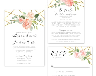 Wedding Invitation Sample- Geometric Floral Invitation Suite