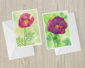 Poppy Note Card Set of Four from Original Watercolors