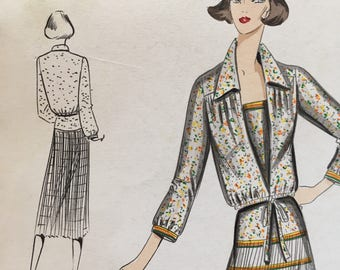 1970's Original Italian Fashion Design with Fabric Swatches - Dropwaist Dress & Jacket! - Andrea Borghi